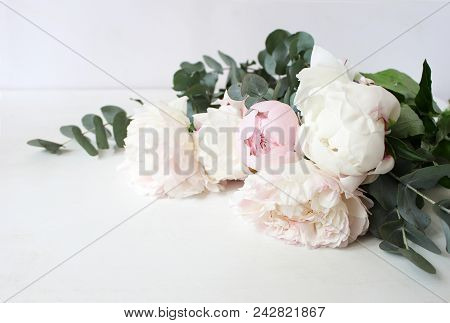 Styled Stock Photo. Decorative Still Life Floral Composition. Wedding Or Birthday Bouquet Of Pink An