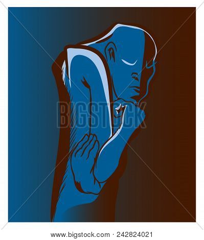 Thinker Man.  Standing Thinker Man Thinking. An Illustration Of Abstract Thinking Man.