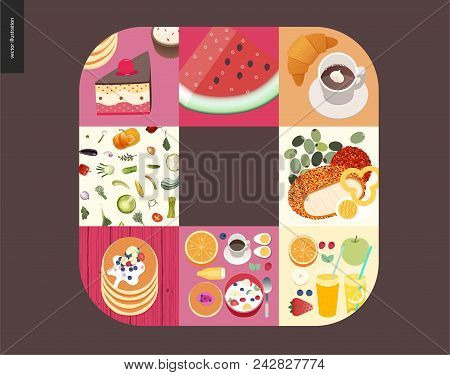 Simple Things - Meal - Flat Cartoon Vector Illustration Of Cake, Watermelon, Coffee With Croissant,