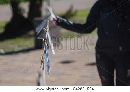 Street Show Of Photos Of Professionals And Non-professionals Photographers. Photo Drying. The Pictur