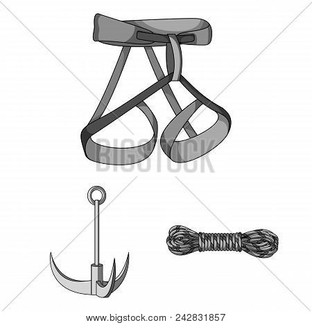Mountaineering And Climbing Monochrome Icons In Set Collection For Design. Equipment And Accessories