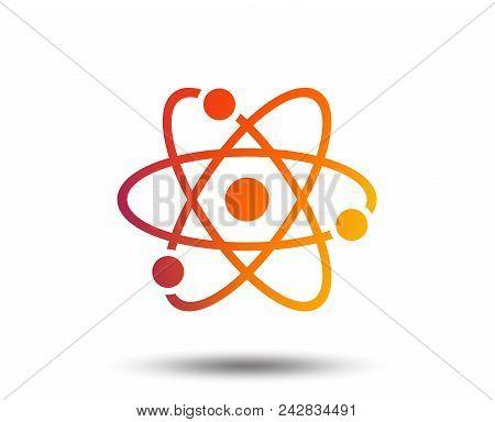 Atom Sign Icon. Atom Part Symbol. Blurred Gradient Design Element. Vivid Graphic Flat Icon. Vector