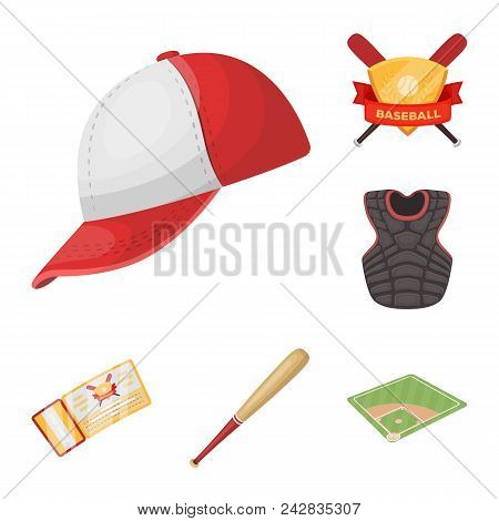 Baseball And Attributes Cartoon Icons In Set Collection For Design.baseball Player And Equipment Vec