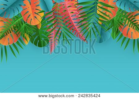 Tropical Paper Palm, Monstera Leaves Frame. Summer Tropical Leaf. Origami Exotic Hawaiian Jungle, Su