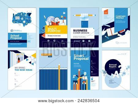 Brochure Cover Design And Flyer Layout Templates Set For Education, School, Online Learning. Vector
