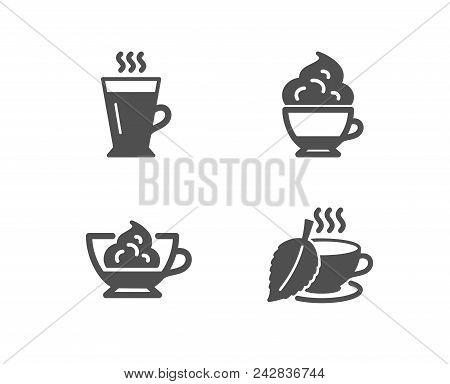 Set Of Cappuccino Cream, Espresso Cream And Latte Icons. Mint Tea Sign. Cafe Con Panna, Tea Glass Mu