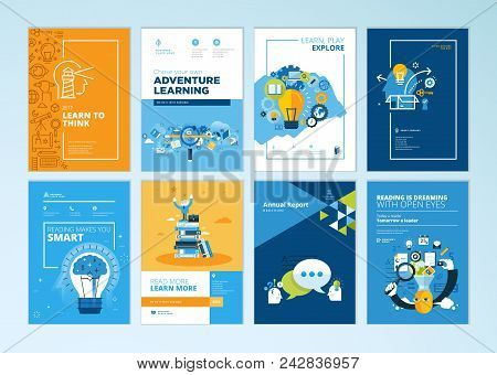 Set Of Brochure Design Templates On The Subject Of Education, School, Online Learning. Vector Illust