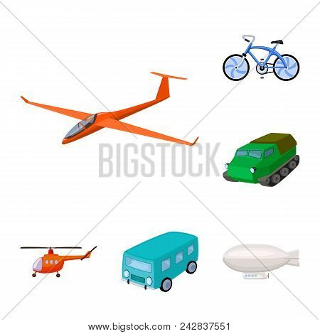 Different Types Of Transport Cartoon Icons In Set Collection For Design. Car And Ship Vector Symbol