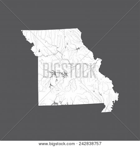 U.s. States - Map Of Missouri. Hand Made. Rivers And Lakes Are Shown. Please Look At My Other Images