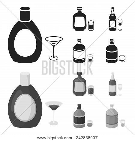 Liquor Chocolate, Champagne, Absinthe, Herbal Liqueur.alcohol Set Collection Icons In Black, Monochr