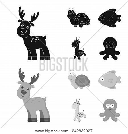 An Unrealistic Black, Monochrome Animal Icons In Set Collection For Design. Toy Animals Vector Symbo