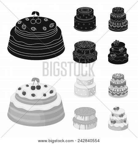 Sweetness, Dessert, Cream, Treacle .cakes Country Set Collection Icons In Black, Monochrom Style Vec