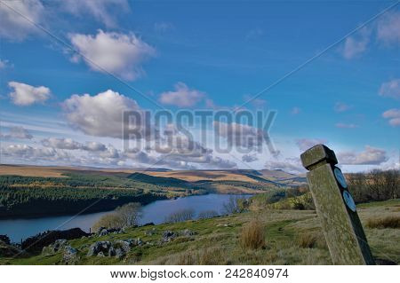 Above Pontsticill Reservoir Looking Toward The Mountains, Signpost On The Foreground