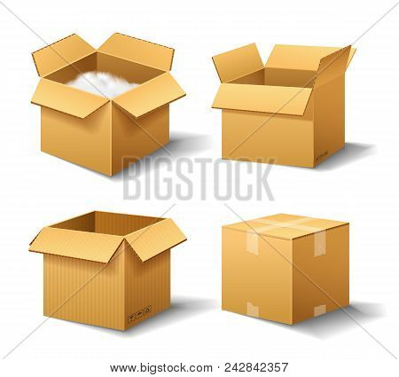 Realistic empty cardboard box Opened. Brown delivery. Carton package with fragile sign on transparent white background. Set of isolated mockup for web. Container for shipping, transportation and mail poster