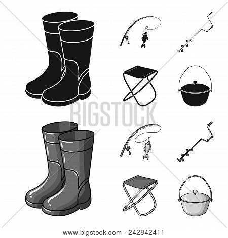Fishing, Fish, Catch, Fishing Rod .fishing Set Collection Icons In Black, Monochrome Style Vector Sy