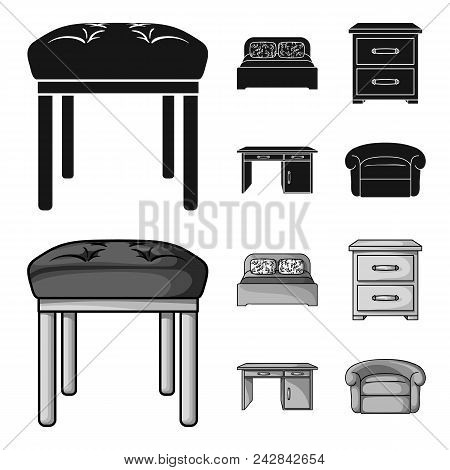 Interior, Design, Bed, Bedroom .furniture And Home Interiorset Collection Icons In Black, Monochrom