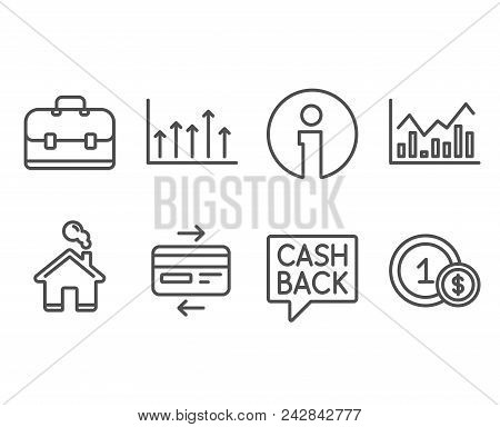 Set Of Money Transfer, Infochart And Credit Card Icons. Growth Chart, Portfolio And Usd Coins Signs.