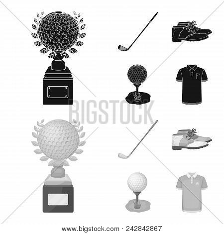 Cup, Golf Club, Ball On The Stand, Golfer Shoes.golf Club Set Collection Icons In Black, Monochrome