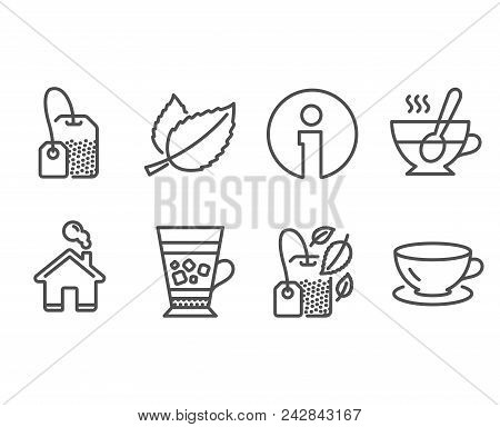 Set Of Frappe, Tea Cup And Tea Bag Icons. Mint Bag, Mint Leaves And Espresso Signs. Cold Drink, Coff