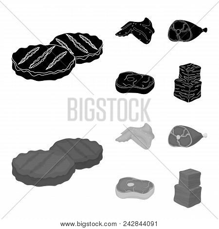 Chicken Wings, Ham, Raw Steak, Beef Cubes. Meat Set Collection Icons In Black, Monochrom Style Vecto