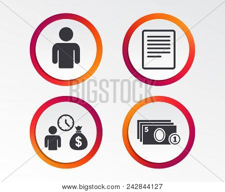 Bank Loans Icons. Cash Money Bag Symbol. Apply For Credit Sign. Fill Document And Get Cash Money. In