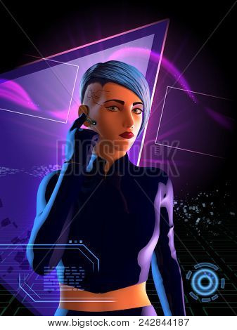 Cyberpunk girl with blue hair. 3D illustration.