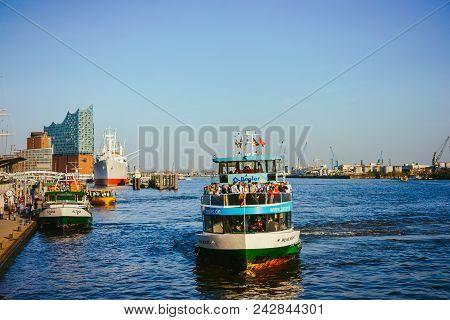 Hamburg, Germany - April 18, 2018: St Pauli Landungsbrucken Landing Place In Port Of Hamburg Between