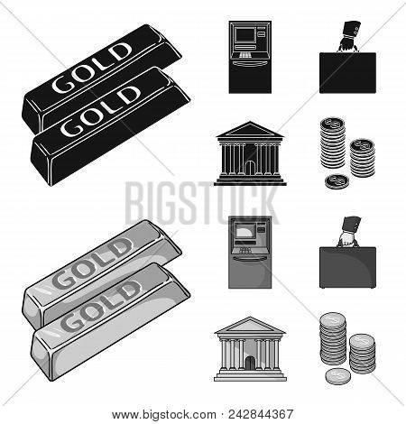 Gold Bars, Atm, Bank Building, A Case With Money. Money And Finance Set Collection Icons In Black, M