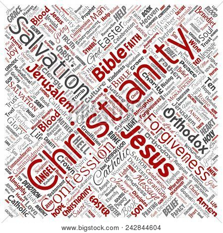 Conceptual christianity, jesus, bible, testament square red  word cloud isolated background. Collage of teachings, salvation resurrection, heaven, confession, forgiveness, love concept poster