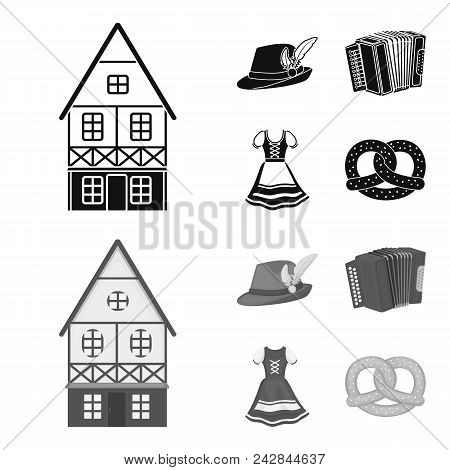 Tyrolean Hat, Accordion, Dress, Pretzel. Oktoberfestset Collection Icons In Black, Monochrom Style V
