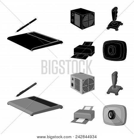 Power Unit, Dzhostik And Other Equipment. Personal Computer Set Collection Icons In Black, Monochrom