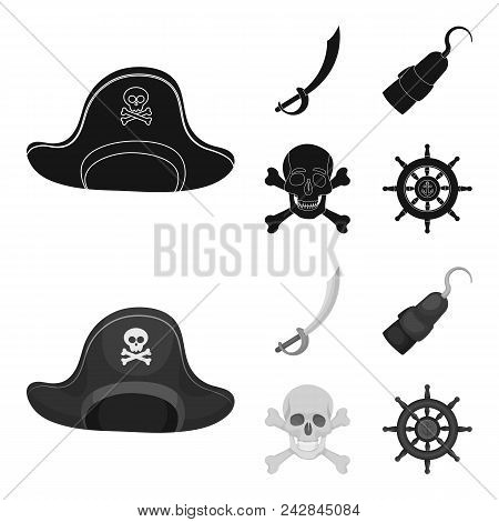 Pirate, Bandit, Cap, Hook .pirates Set Collection Icons In Black, Monochrome Style Vector Symbol Sto
