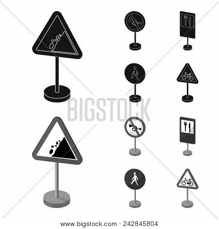 Different Types Of Road Signs Black, Monochrom Icons In Set Collection For Design. Warning And Prohi