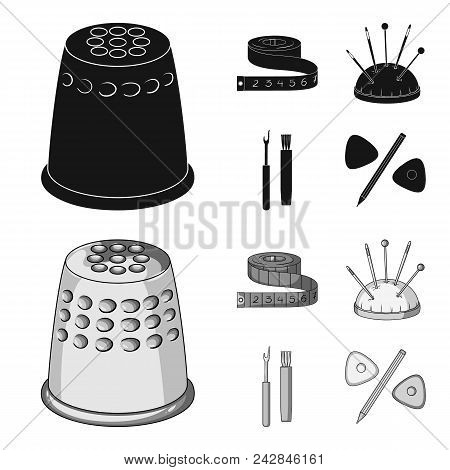 Measuring Tape, Needles, Crayons And Pencil.sewing Or Tailoring Tools Set Collection Icons In Black,