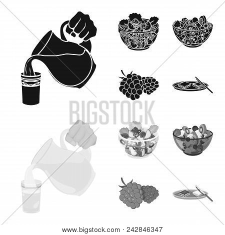 Fruit, Vegetable Salad And Other Types Of Food. Food Set Collection Icons In Black, Monochrome Style