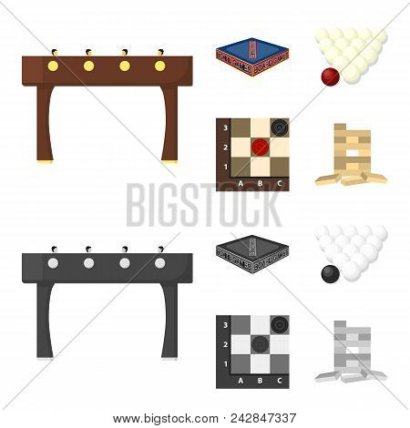 Board Game Cartoon, Monochrome Icons In Set Collection For Design. Game And Entertainment Vector Sym