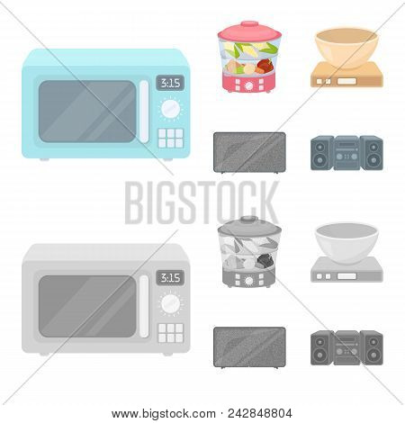 Steamer, Microwave Oven, Scales, Lcd Tv.household Set Collection Icons In Cartoon, Monochrome Style