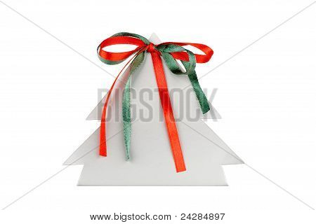 Paper Christmas Tree With Green And Red Ribbons Isolated