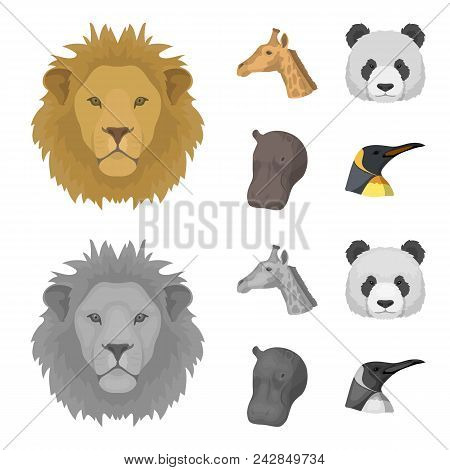 Panda, Giraffe, Hippopotamus, Penguin, Realistic Animals Set Collection Icons In Cartoon, Monochrome
