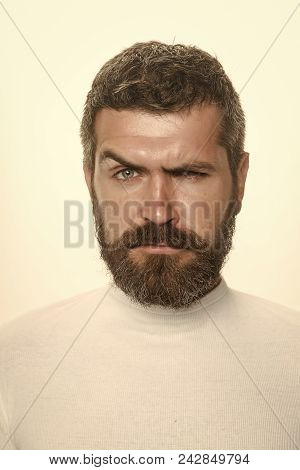 Man With Serious Emotion. Guy Or Bearded Man Isolated On White Background. Feeling And Emotions. Bar