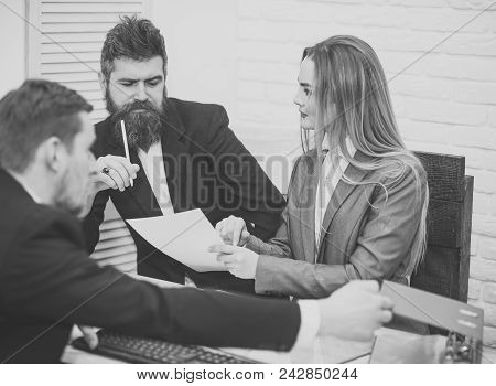 Woman Lawyer Explain Terms Of Transaction. Business Negotiations Concept. Business Partners, Busines