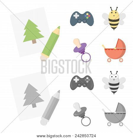 Picture, Dzhostik, Bee, Nipple.toys Set Collection Icons In Cartoon, Monochrome Style Vector Symbol