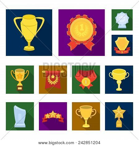 Awards And Trophies Flat Icons In Set Collection For Design.reward And Achievement Vector Symbol Sto