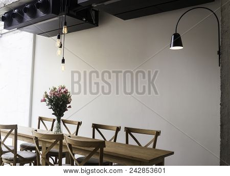 Wooden Dining Table In Coffee Shop, Tock Photo