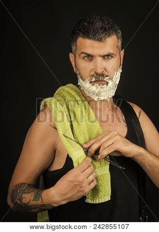 Man With Serious Emotion. Haircut Of Bearded Man, Archaism. Serious Hipster In Barbershop, New Techn