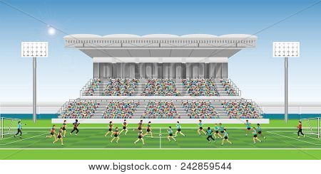 Crowd In Stadium Grandstand To Cheering Football Match Team Players Sport Championship, Soccer Man P
