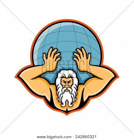 Mascot Icon Illustration Of Head Of Atlas, A Titan In Greek God Mythology Holding Up The World Or Gl