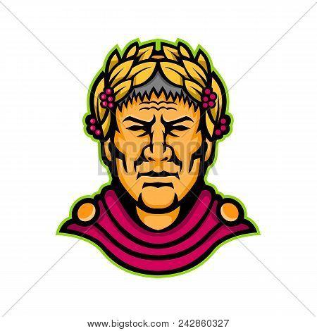 Mascot Icon Illustration Of Head Of Gaius Julius Caesar, A Roman Politician, Military General And Em