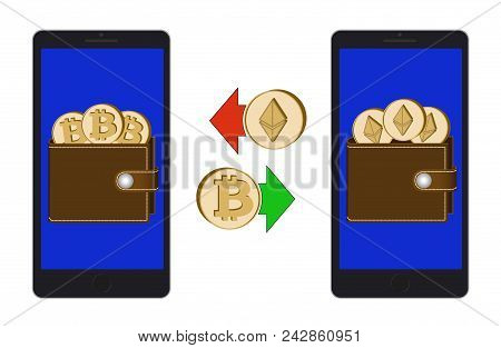 Exchange Between Bitcoin And Ethereum In The Phone On A White Background , Exchange Cryptocurrency I