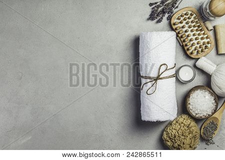 Spa Concept. Top View Of Beautiful Spa Products On Concrete Background